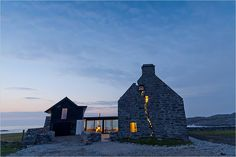 Renovated Farmhouse on the Isle of Coll. A mash of old and new. I could definitely live here.