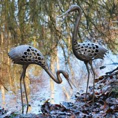Pair Of Large Heron Garden Ornaments / Sculptures