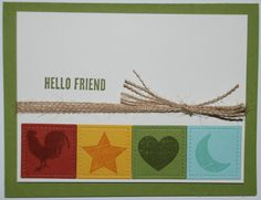 Stampin' Up! Wood Textures Suite - Wood Words stamp set - Old Olive, Crushed Curry, Cajun Craze, Pool Party, Very Vanilla - Burlap Ribbon - Check out my website for measurements
