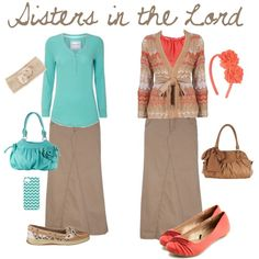 Not sure if I like long khaki skirts (or even knee length ones) but these outfits look great..