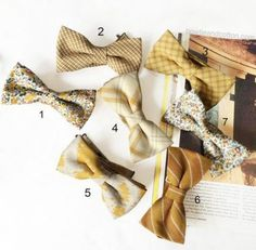 Wedding theme: Rustic wedding / Shades of yellow, mustard, brown and gold / Grey & Yellow wedding The price is for a set of 7 mismatched mens Bow Tie Wedding, Wedding Sets, Trendy Wedding, Rustic Wedding, Fall Wedding, Diy Wedding, Bridesmaids And Groomsmen, Wedding Bridesmaid Dresses, Ties