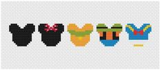 Disney Mouse Ears Mickey and Friends Cross Stitch Pattern . Small Cross Stitch, Beaded Cross Stitch, Cross Stitch Kits, Cross Stitch Charts, Cross Stitch Designs, Motifs Perler, Perler Patterns, Loom Patterns, Perler Beads