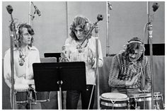 Led Zeppelin records 'Whole Lotta Love' at A&M Studios, Los Angeles, May 1969. From left, John Paul Jones, Robert Plant and John Bonham.