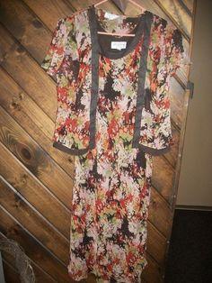 Studio I Women's Petite size 10P 3/4 length sleeveless dress w sheer jacket  #StudioI