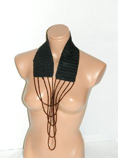 black crocheted glass beads scarf collar by specialhandmades4you, $31.50