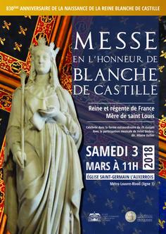 Samedi 3 mars 2018: messe en l'honneur de Blanche de Castille à Saint-Germain l'Auxerrois (Paris 1er)