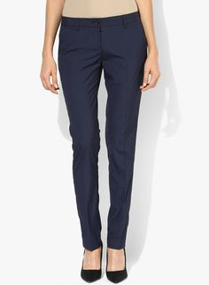 Buy Arrow Woman Navy Blue Striped Chinos for Women Online India, Best Prices, Reviews | AR262WA23SMIINDFAS
