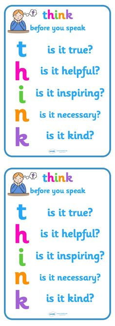 Twinkl Resources >> Think Before You Speak Poster >> Classroom printables for Pre-School, Kindergarten, Elementary School and beyond! Posters, Behavior, Class Management