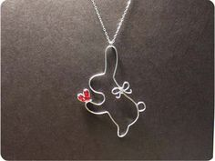 Rabbit and Red Heart Necklace, Sterling Silver Rabbit Necklace, Crystal beads