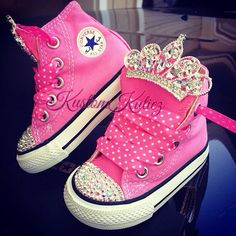 Pink Princess first birthday converse, pink Swarovski Crystal Embellished Converse Baby Converse, Kids Converse Shoes, Converse All Star, Bling Converse, Bling Shoes, Princess First Birthday, First Birthday Outfits, Baby Birthday, Birthday Ideas