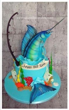 Blue Marlin Cake Another repeat design – this one sure is popular. Birthday Cakes For Men, Fish Cake Birthday, Sea Cakes, Blue Cakes, Fisherman Cake, Dad Cake, Animal Cakes, Novelty Cakes, Fancy Cakes