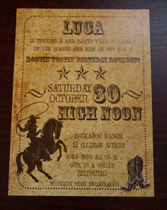 Vintage Inspired Cowboy Party Invitation: Old West Cowboy Birthday Party Invitation set of 10 by Belleza e Luce. $20.00, via Etsy.