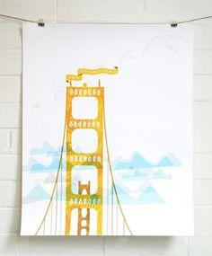 San Francisco Landmark Print by JHill Design Illustrations, Illustration Art, Poster Prints, Art Prints, Posters, Mellow Yellow, Design Art, Wall Art, San Francisco