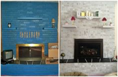Previously BLUE painted brick fireplace NOW A BEAUTIFUL masterpiece