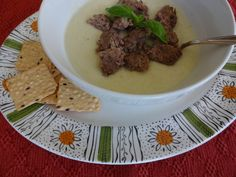 "Cauliflower soup with hamburger ""croutons"" Cauliflower Soup, Food Preparation, Crocodile, Autism, Hamburger, Soups, Frozen, Veggies, Healthy Eating"