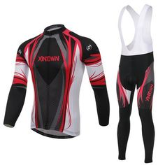 Men's Red Long Sleeve Cycling Jersey Set #Cycling #CyclingGear #CyclingJersey #CyclingJerseySet
