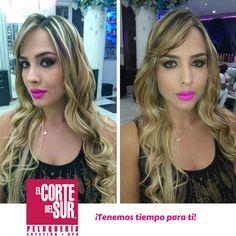 #FelizJueves  Esta linda propuesta es realizada por nuestra excelente estilista profesional Mayra Facundo.   Hermoso #Peinado en #Ondas y un #Maquillaje profesional que aporta protagonismo a tu mirada.   Visítanos, ¡Tenemos tiempo para ti!