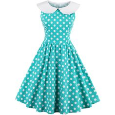 Doll Collar Ruffled Hem Bust Darts Polka Dot Polyester Skater Dress (118.175 COP) ❤ liked on Polyvore featuring dresses, flutter-sleeve dress, baby doll dress, collared dresses, blue ruffle dress and blue polka dot dress