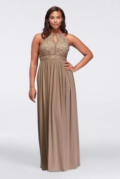 Lace Keyhole Tie Back Plus Size Halter Dress 12089DW
