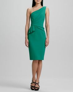 One-Shoulder Side-Ruffle Cocktail Dress by David Meister.  I love the color!