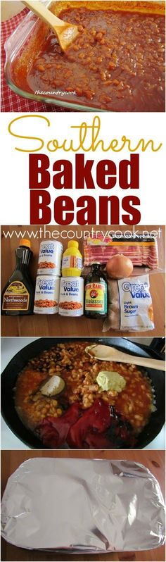 Southern Baked Beans recipe from The Country Cook. I swear my husband wanted to marry me all over again after eating these. LOL. #LaborDay #MemorialDay #recipes #4thofJuly #BBQ #sides