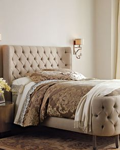 Linen+Larkspur+Queen+Bed+by+Haute+House+at+Horchow.
