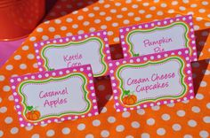 Pumpkin Birthday Food Labels Buffet Labels by sosweetpartyshop