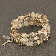 memory wire bracelet designs   Memory wire wrap bracelet in shades of white, pearl, silver, bohemian ...