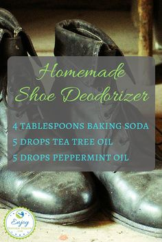Freshen up smelly shoes with this easy to make shoe deodorizer. Mix the baking soda and essential oils in a glass jar, and then pour into your shoes. Leave at least overnight (but better if you can wait 24 hours), then shake out mixture. Now you can enjoy fresh smelling shoes :)  This is just one of 101 baking soda uses on our site.