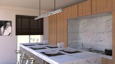 Cuisine moderne dans un appartement haussmannien. Bar / îlot central en marbre…