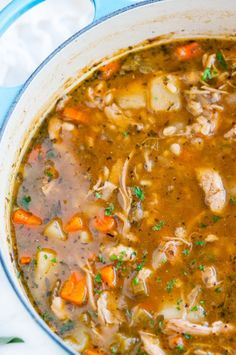 Chicken and Barley Stew recipe - Warming, filling and healthy stew made from scratch with chicken thighs, fresh veggies and herbs. ~~ CLICK PIN TO READ MORE ~~ Beef Soup Recipes, Healthy Diet Recipes, Slow Cooker Recipes, Dinner Recipes, Cooking Recipes, Soup Recipes With Chicken, Cooking Tips, Healthy Food, Chicken Ideas