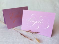 1 Calligraphy Place card, Lilac Card Board, with White or Tangerine Coloured Ink (folded Card) by Federflug