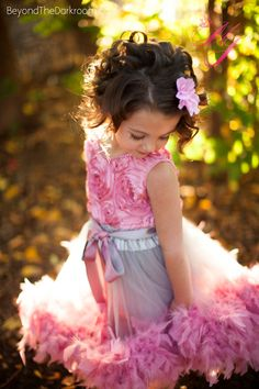 Feather Delight Girls Rosette Dress.