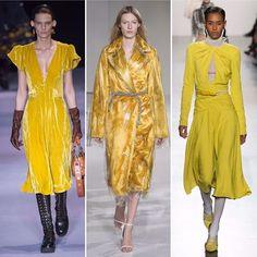 E o bom dia do nosso sábado já tem NYFW Trend Alert! Pode anotar: Amarelo é o novo preto. Em um temporada já repleta de cores fortes como azul klein, vermelho e verde, o amarelo teve grande destaque nas passarelas mais festivas com vestidos e casacos (tipo vestidos) de comprimento mídi. Acima, os looks de @altuzarra, @calvinklein e @prabalgurung confirmam. (por @adribechara)