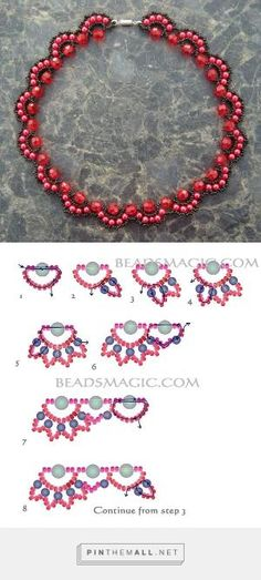 Free pattern for beaded necklace Rosana | Beads Magic - Seed Bead Tutorials by catalina