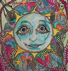Singleton Hippie Art | Over my Blue Moon Singleton Hippie Art Original by justgivemepeace