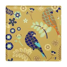 Cute Retro  Blue Birds Flowers Fine Girly Floral. Glass Coaster Art.