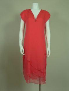 Sant'Angelo 1970s Pink Layered Silk Chiffon Dress