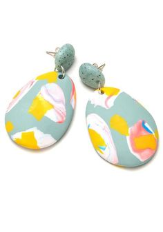Lipstick and Periwinkle Terrazzo Drop Earrings                         – Emily Green
