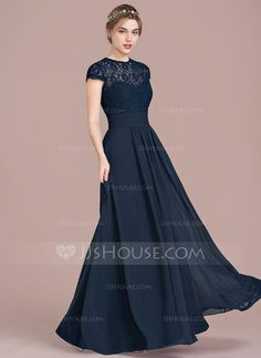 [US$ 126.49] A-Line/Princess Sweetheart Floor-Length Chiffon Lace Bridesmaid Dress With Ruffle