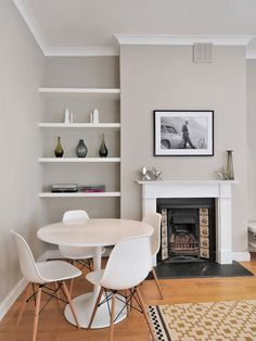 Farrow & Ball Elephant's Breath combines in a fantastic way with white trim and white furnishings.