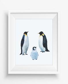 Watercolor Family of Emperor  Penguins,Penguins print,Alaska wall art,digital…
