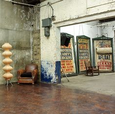 old signs+club chair