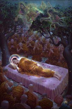"Buddha's Last Words ""Behold, O monks, this is my last advice to you. Buddha Life, Buddha Buddhism, Buddha Art, Buddha Drawing, Buddha Painting, Buddhism Wallpaper, Buddha Statue Home, Thai Art, Indian Art Paintings"