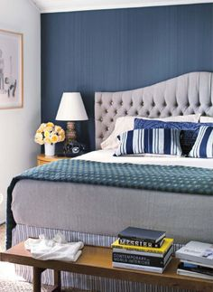 tufted curved headboard     we like the solid contrasted painted back wall