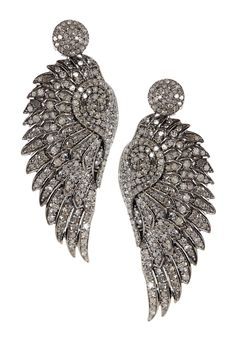 Pave Diamond Feather Dangle Earrings