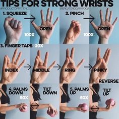TIPS TO STRONG WRISTS: Please excuse the non consistent blue shade of he photos…