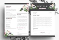 Creative resume / PSD + Word by Emily's ART Boutique on Creative Market