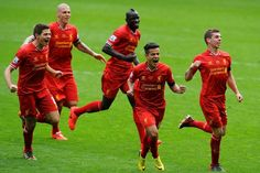 Liverpool celebrate 3-2 win against City