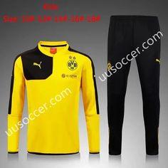 2015 16 Borussia Dortmund Yellow Kids Youth Soccer Tracksuit Camisetas 77df7157632